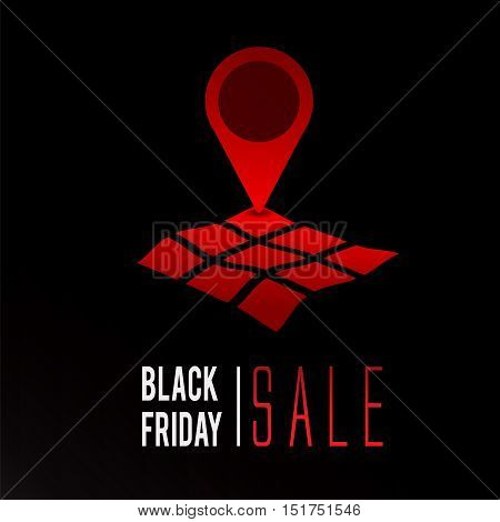 Black Friday sale promo text with geo tag symbol vector illustration