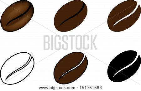 coffee bean , Coffee beans drawn in different styles , Vector illustration