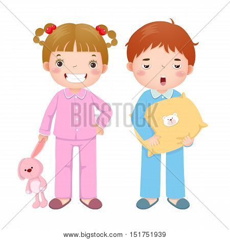 Vector illustration of children wearing pajamas and getting ready to sleep