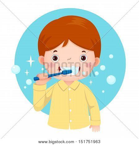 Vector illustration of cute boy brushing his teeth