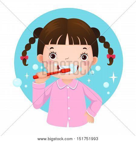 Vector illustration of cute girl brushing her teeth