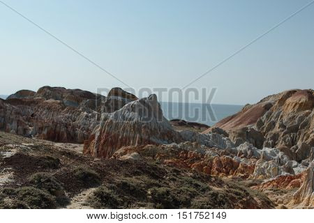 colored clay, clay, colorful, landscape, clay landscape, the views, the coast of Shekelmes, lake Zaysan, Kazakhstan