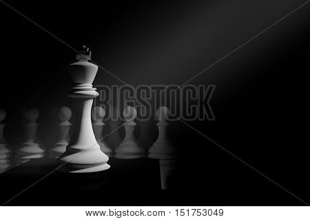 3D Rendering : illustration of chess pieces.the king chess at  center with pawn chess in the back.put on chess board.light drop at the king.leader concept.success concept business leader concept