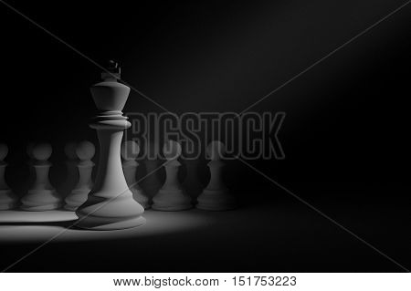 3D Rendering : illustration of chess pieces.the king chess at center with pawn chess in the back.light drop at the king.leader concept.success concept business leader concept