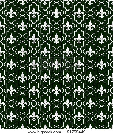 White and Dark Green Fleur-De-Lis Pattern Textured Fabric Background that is seamless and repeats