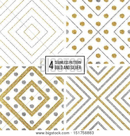 Set of geometric seamless pattern of gold silver rhombus and circle, abstract seamless background of golden and silvern stripes and points, hand drawn vector pattern for invitation, card, wedding, web poster