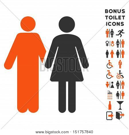 Married Couple icon and bonus man and woman toilet symbols. Vector illustration style is flat iconic bicolor symbols, orange and gray colors, white background.