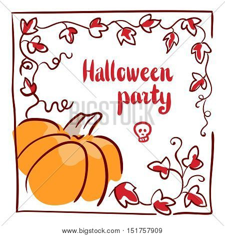 October 31 design element. Pumpkin, tendrils and large lobed leaves. Greeting or invitation card template, hand drawn sketchy illustration. Halloween party clip-art. Red, black, orange and white