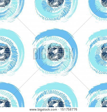 Abstract seamless pattern of grunge multicolored circles of stylized brush, pencil and crayon strokes on white background. Can be used for pattern fill, packaging, clothing, printing on surfaces.