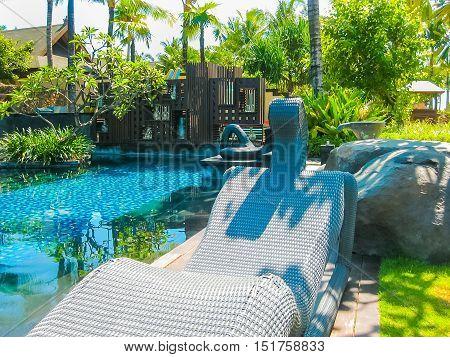 Nusa Dua, Bali, Indonesia - April 14, 2014: View of swimming pool at St. Regis Bali Resort