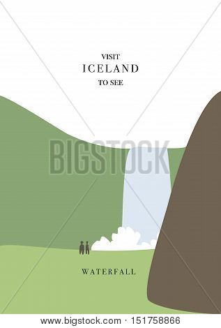 Iceland invating postcard. Waterfall scenery vector illustration. Simple flat design