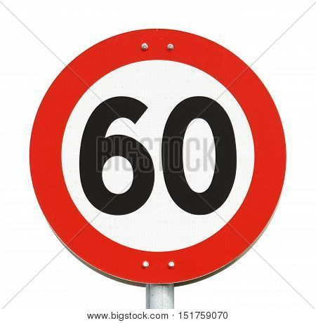 Road sign speed limit 60 isolated on white.