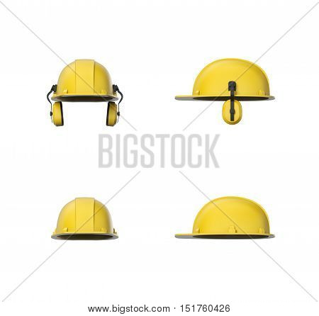 3d rendering set of yellow hard hat or construction helmet with ear protectors isolated on a white background. Wearing a worker helmet. Industrial and construction sites. Workwear and safety gear. Personal protective equipment.