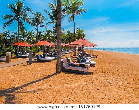 Nusa Dua, Bali, Indonesia - April 14, 2014: View of the beach at St. Regis Bali Resort