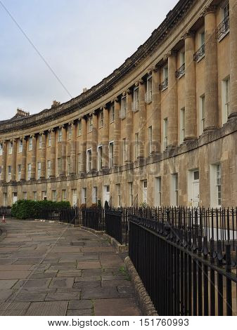 Royal Crescent Row Of Terraced Houses In Bath