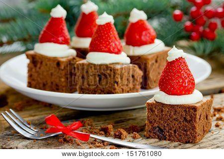 Santa hat brownie bites festive treat for kids