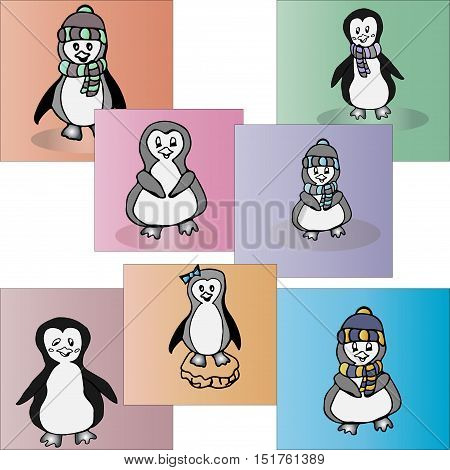 Set of animal penguin. Penguin bird penguin vector animals winter penguin isolated animal penguin cartoon penguin character illustration