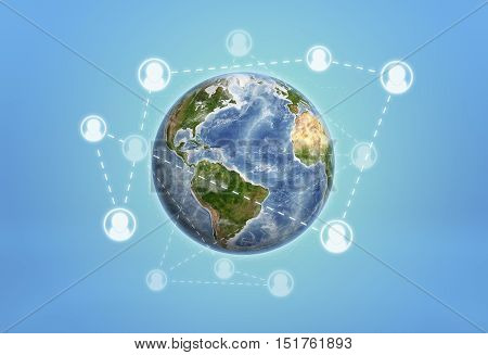 Planet Earth enveloped by social network icons connected by dotted lines. World Wide Web Internet. Social networks. Pushing the boundaries. Elements of this image are furnished by NASA.