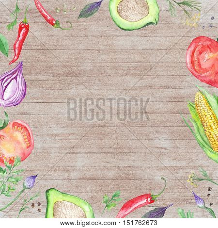 Wood table background with hand painted Vegetable border frame for kitchen and restaurant design