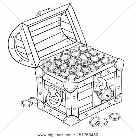 Old chest of gold coins. Contour illustration on white background. Vector.