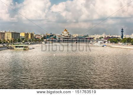 Aerial View Over The Moskva River In Central Moscow, Russia
