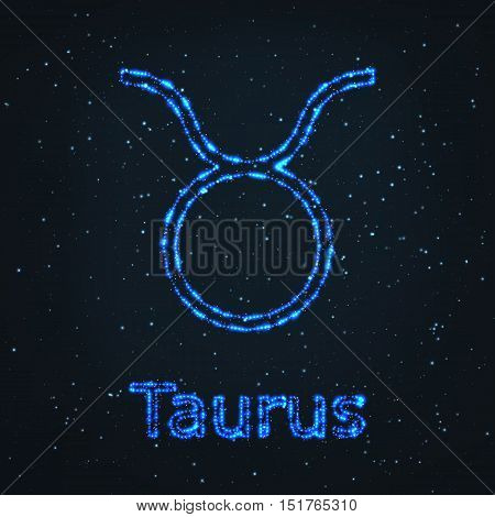 Astrology Shining Blue Symbol. Horoscope Sign. Zodiac Taurus.
