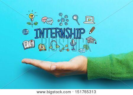 Internship Concept With Hand