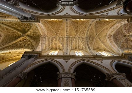 ERICE ITALY - AUGUST 9 2016: Interior of the Chiesa Matrice a.k.a. Cathedral of Erice dedicated to Our Lady of the Assumption originally built in 1314 drastically restored in 1865.