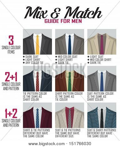 Pattern mix and match guide for men suit and shoes. Suitable and appropriate color match variations for various events, formal, business, casual and other.