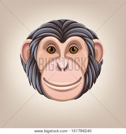 monkey head avatar Chinese zodiac icon White background illustration good round vector
