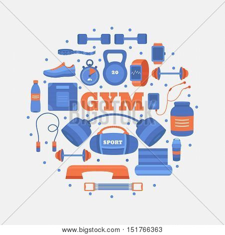 Set of gym equipment. Collection of objects fitness: barbell, dumbbells, sports nutrition, weight, jumping rope, expander, fitball and other. Workout at the gym vector icons. Sport concept.