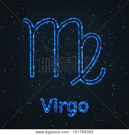 Astrology Shining Blue Symbol. Horoscope Sign. Zodiac Virgo.