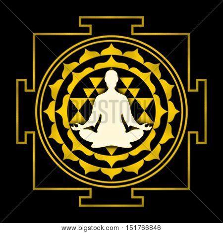 Illustration of a sri yantra symbol with meditation pose.