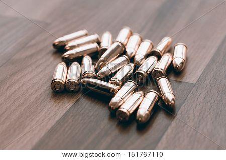 Handgun bullets. 9mm bullets. Pistol bullets, Gun bullets.