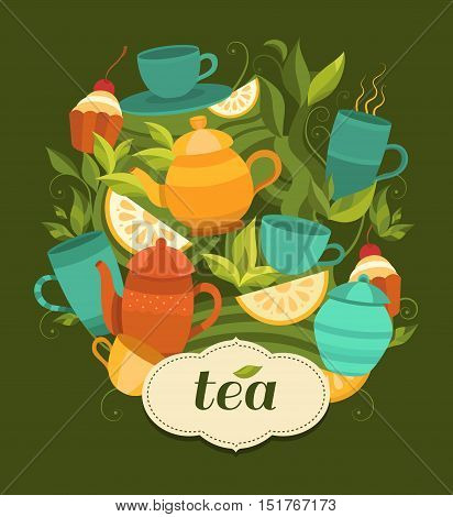Design tea packaging. Vector background with cups, teapot, sugar bowl, tea leaf, cakes, lemon. Template for design: packaging, printing, banner, labels, tag, card, packet, flyer, cover.