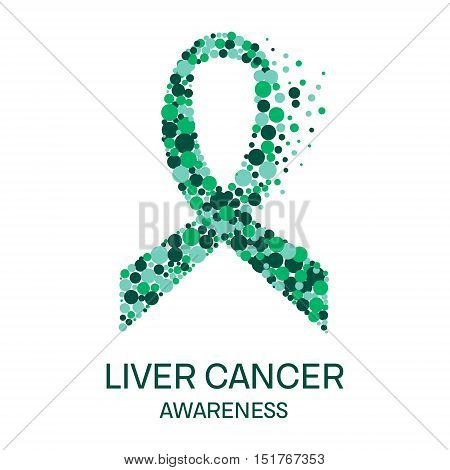 Liver cancer awareness poster design template. Emerald green ribbon made of dot on white background. Medical concept. Vector illustration.