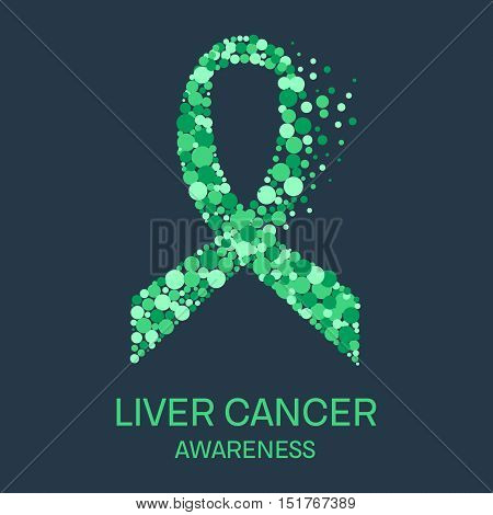 Liver cancer awareness poster design template. Emerald green ribbon made of dots on dark background. Medical concept. Vector illustration.