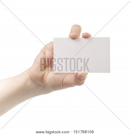 yound female hand show empty business card isolated on white background
