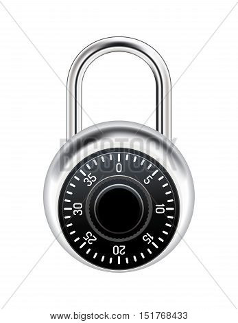 A realistic metal combination lock isolated on white illustration. Vector EPS 10 available.
