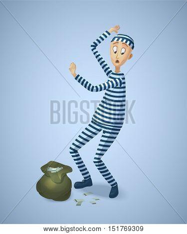 Prisoner captured with stolen money. Burglar with bag gives up. Thief cartoon character