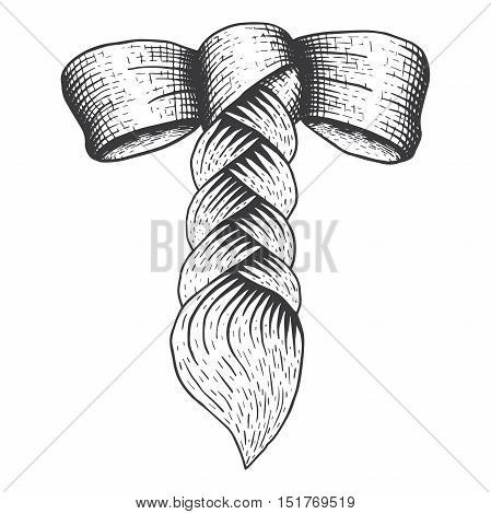 vector braid with a bow in engraving style