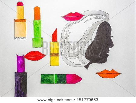 Fashion sketch set. Hand drawn graphic lips, lipstick. Contrasty glamour fashion inky sketch in vogue style. Isolated elements on white background. Painted by watercolor.
