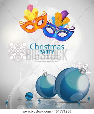 Abstract Beauty Merry Christmas and New Year Party Background with Masquerade Carnival Mask. Vector illustration EPS10