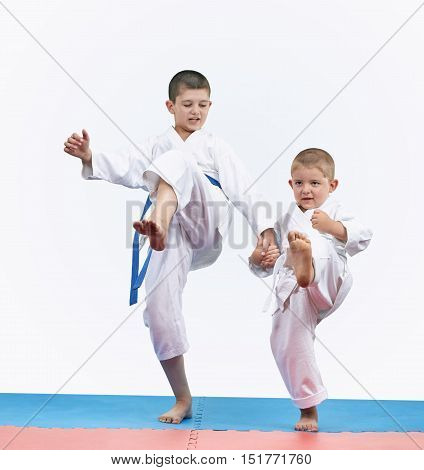 On the red and blue tatami karate brothers are beating kick leg