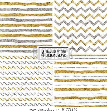 Set of seamless pattern of gold and silver stripes, zigzag chevron, wavy stripe, texture golden and silvern lines, wave, zig zag stripe, hand drawn vector pattern for textile, wallpaper, web, wrapping