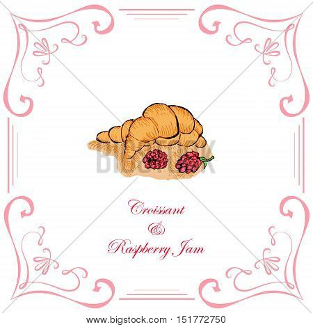 Croissant with Raspberry Jam and Raspberries Decorated in Vintage Retro Style. Vector EPS 10