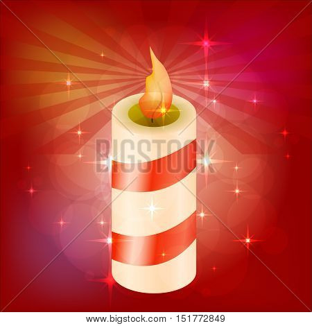 Beautiful festive candle. Red background with highlights. blank for design. vector illustration
