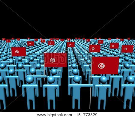 Crowd of abstract people with many Tunisian flags 3d illustration