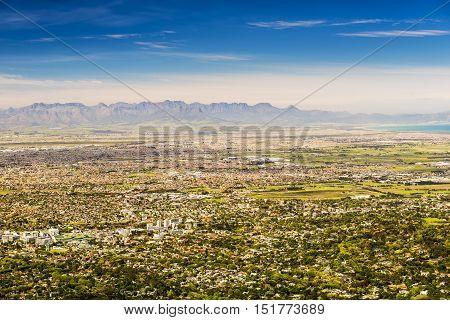 Panorama Of Cape Town Towards Stellenbosch