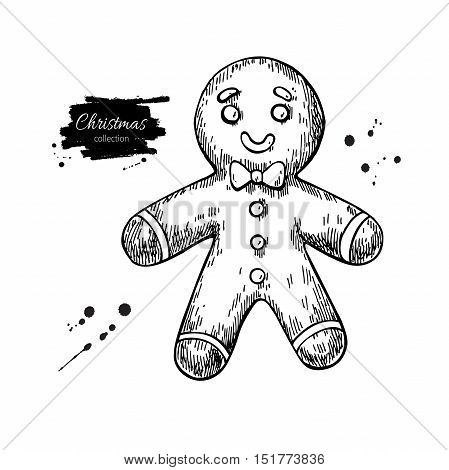 Gingerbread man decorated with icing. Hand drawn vector illustration. Traditional Christmas ginger cookie. Isolated Xmas holiday dessert.